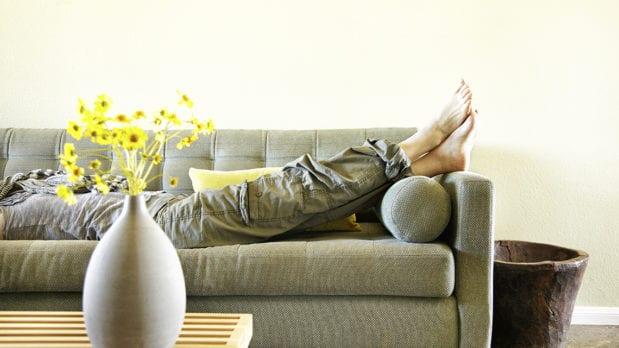 feet up on sofa